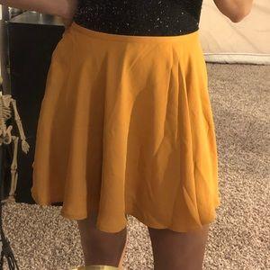 F21 Mustard Yellow Skater Skirt